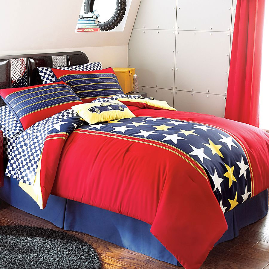 Patriotic Stars Bedding Set 5pc Racing Comforter Sheets