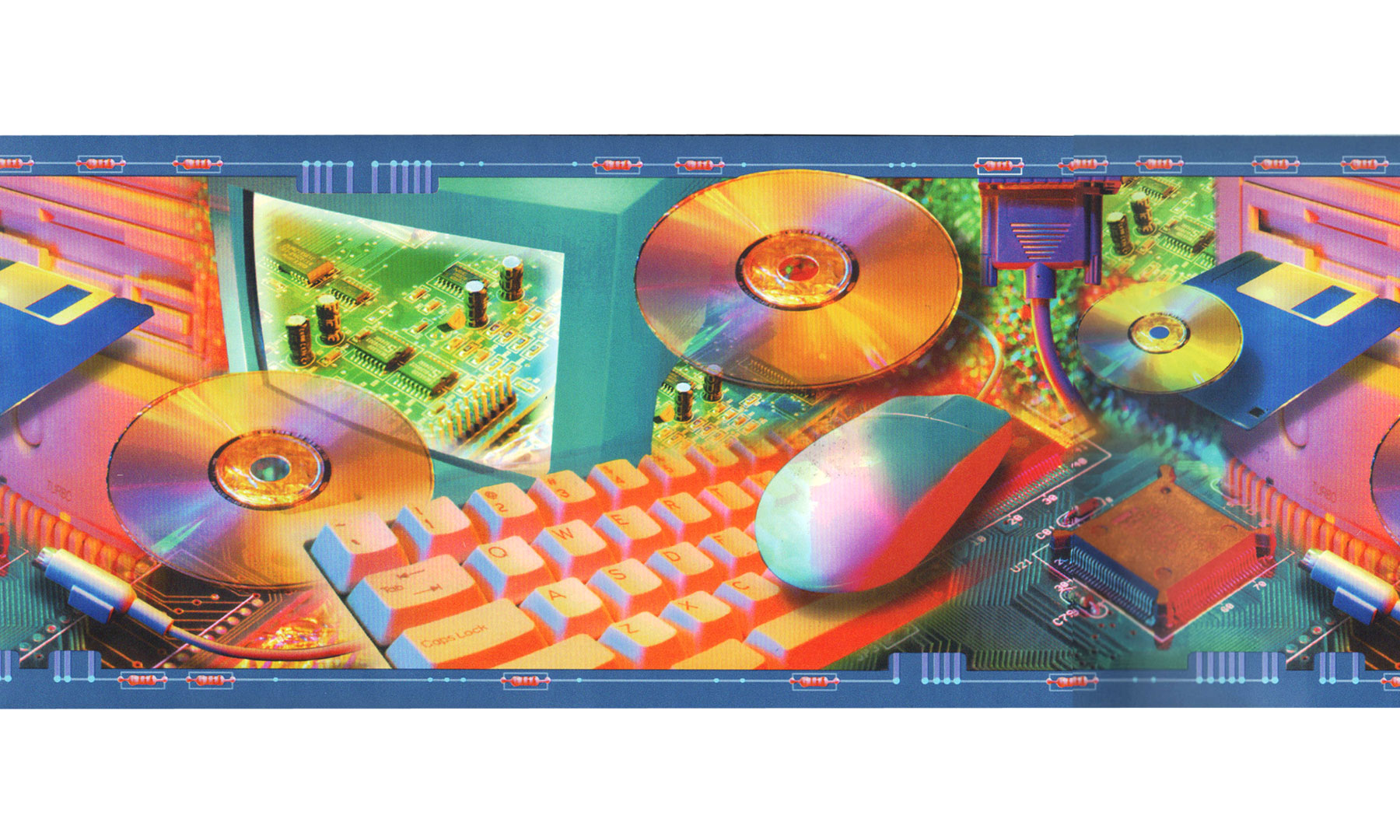 90s Computer Prepasted Wall Border - Retro Technology Wall Decoration