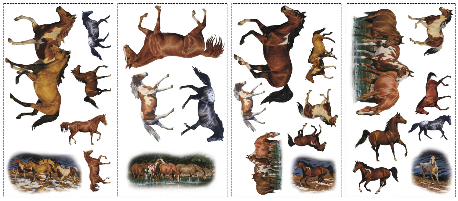 24pcs kentucky wild horses wall stickers - Cowboy Decor