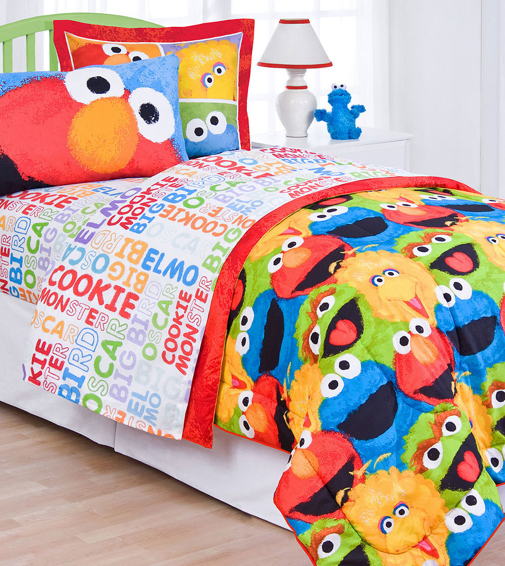 Sesame Street Chalk Twin Bed Sheet Set - 3pc Elmo Big Bird ...