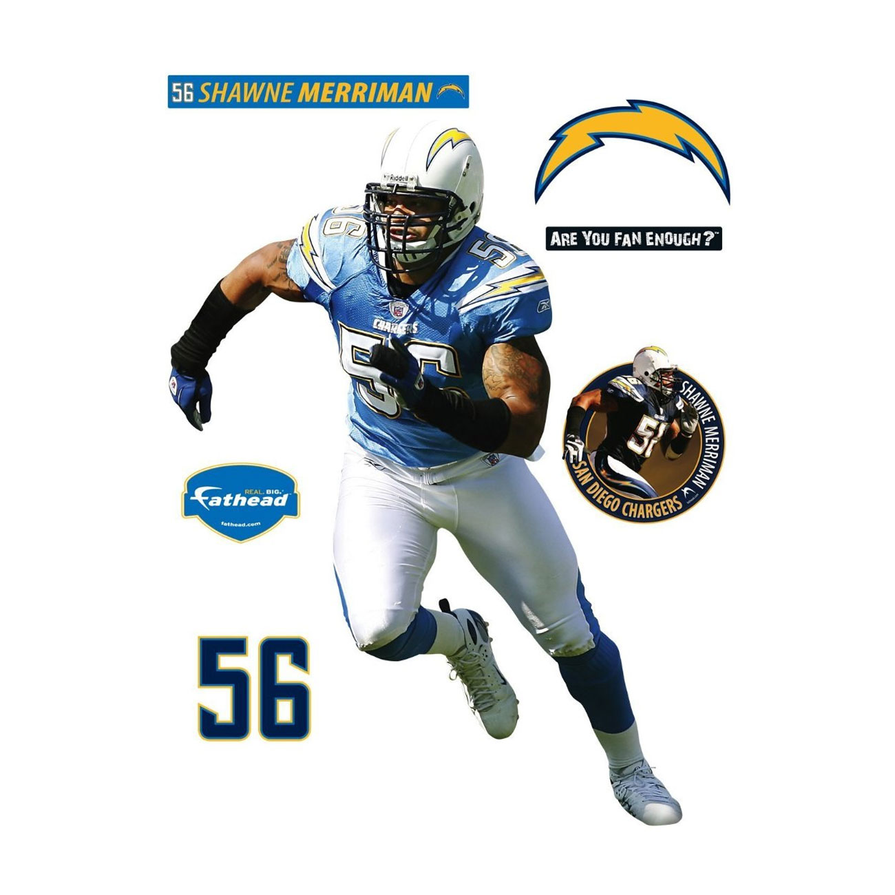 shawne merriman fathead nfl san diego chargers football nfl officially licensed nfl new york giants teammate logo