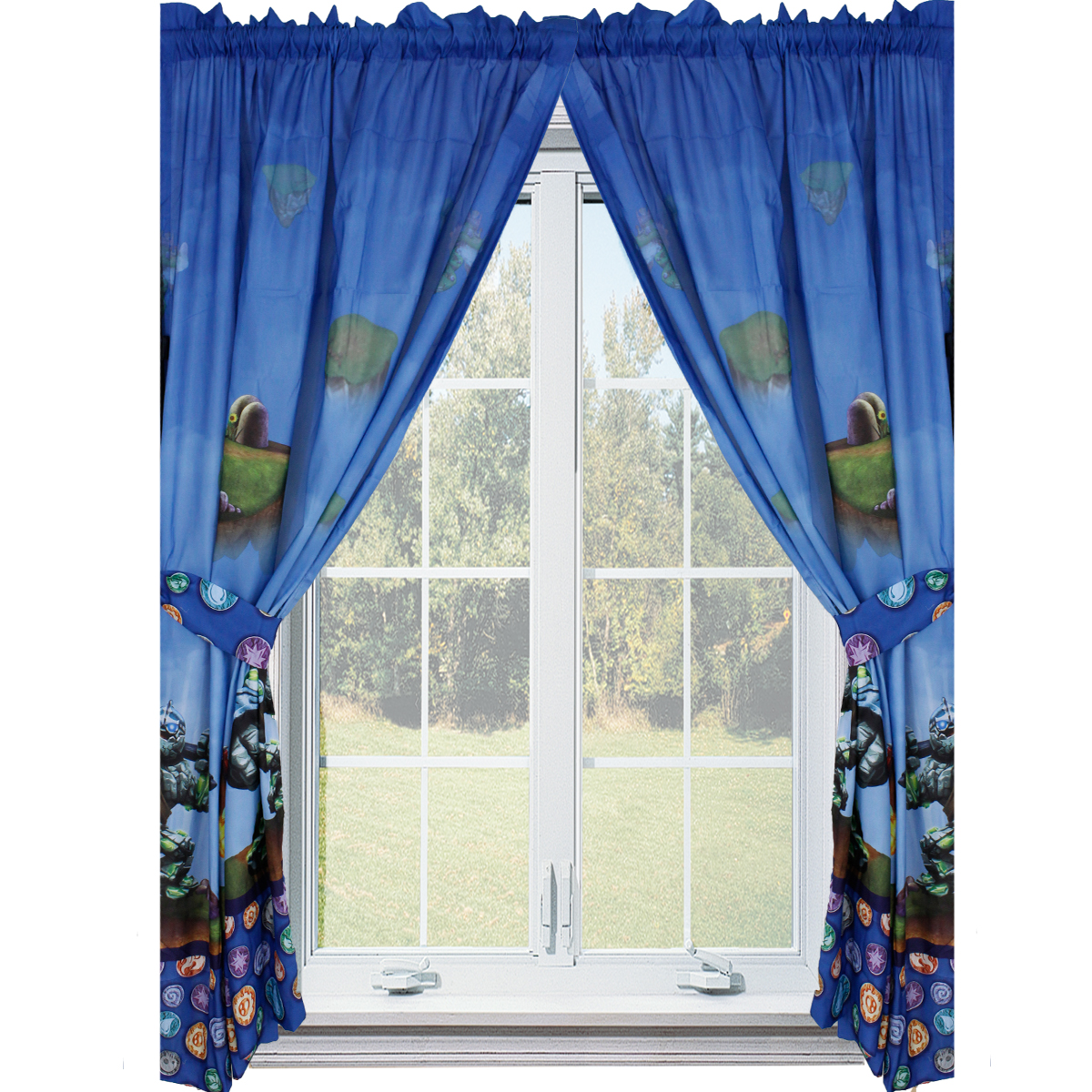 Skylanders Giants Curtain Set - 4pc Spyro Sky Friends Window Panels and Tie-Backs CU361W