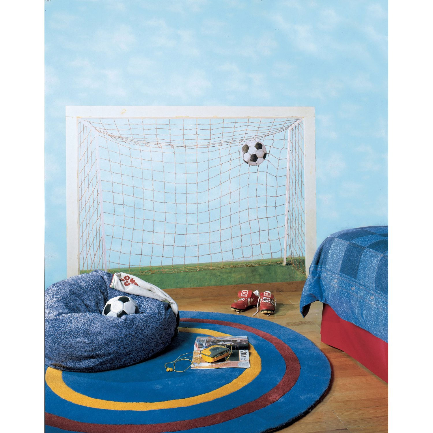 "Large 51.75"" x 72"" Soccer Goal Net Prepasted Removable Mural"