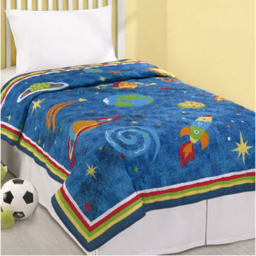 Blue outer space twin quilt stars planets dreams rocket for Outer space quilt