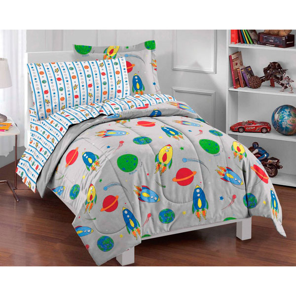 5pc Outer Space Comforter Set Twin Bed