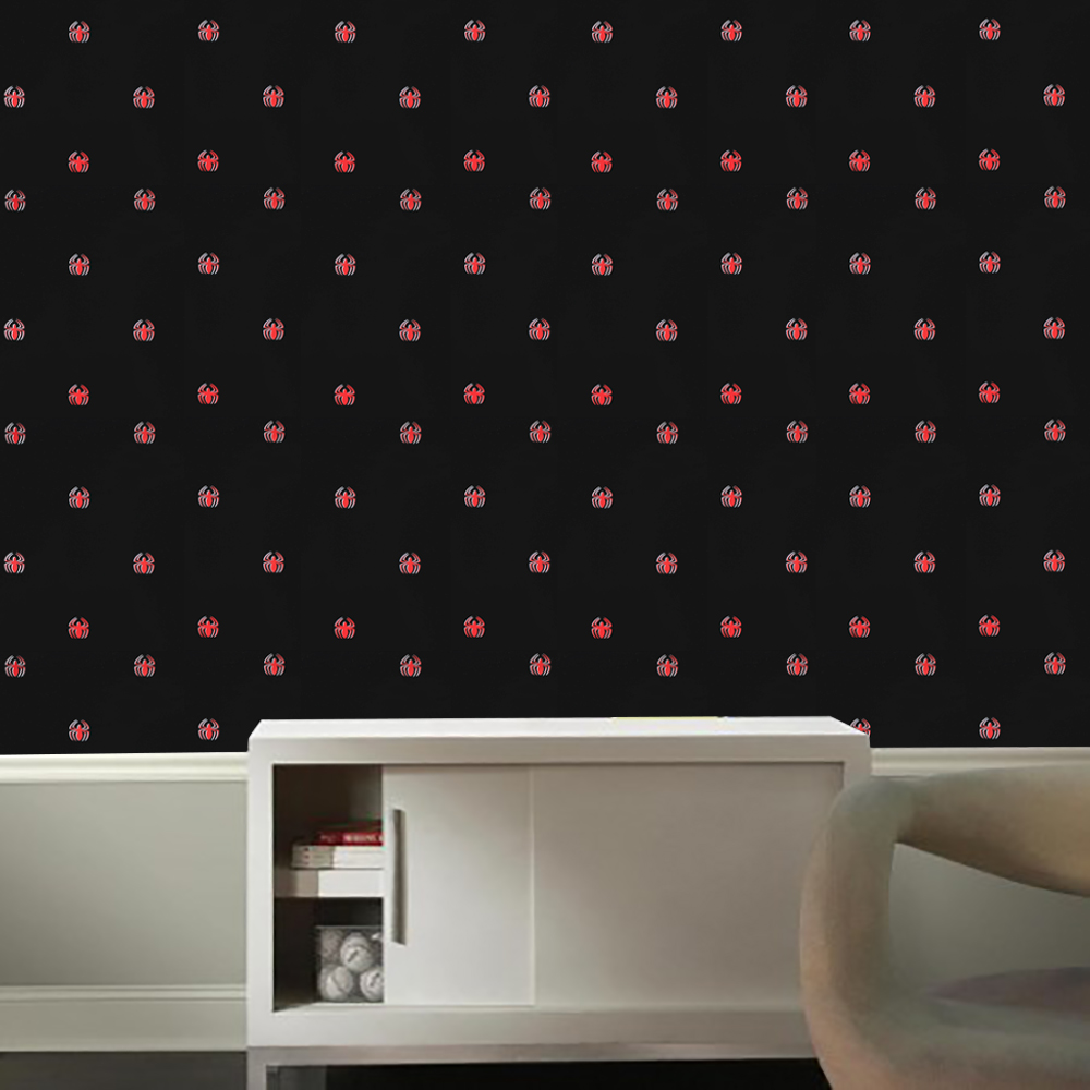 Spiderman Black Wallpaper - 56 sq ft Spider-Man Logo Wall Paper