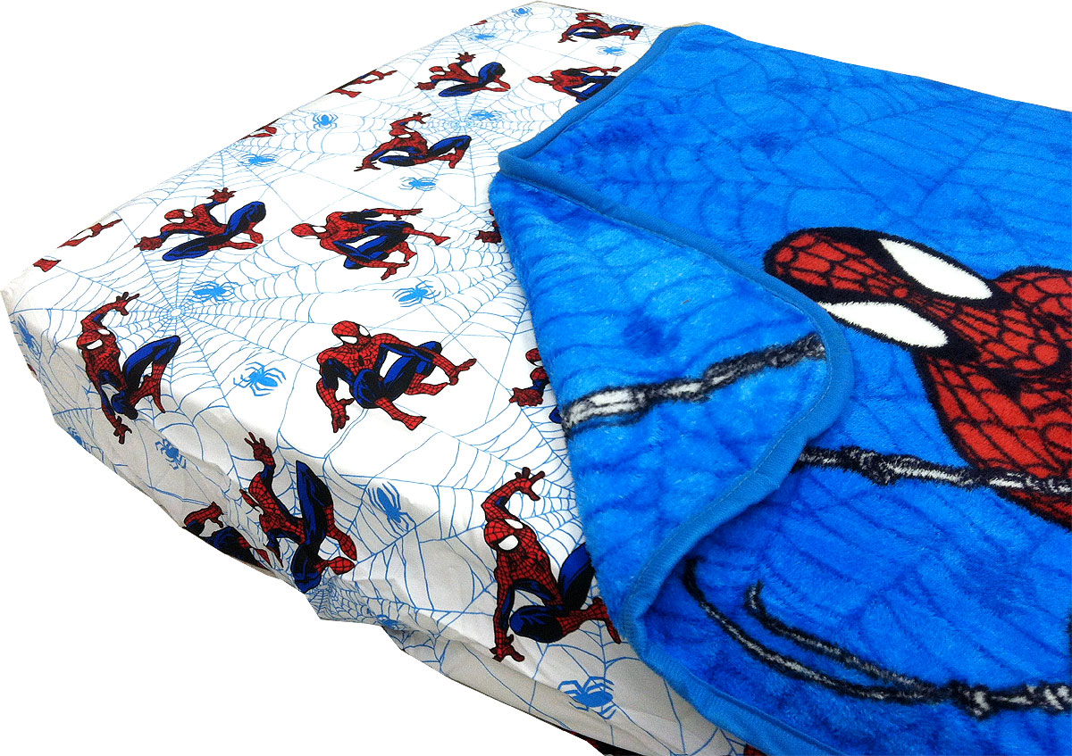 Marvel Spider-Man Bedding Set - 2pc Spiderman Webslinger Fitted Sheet Blanket Toddler