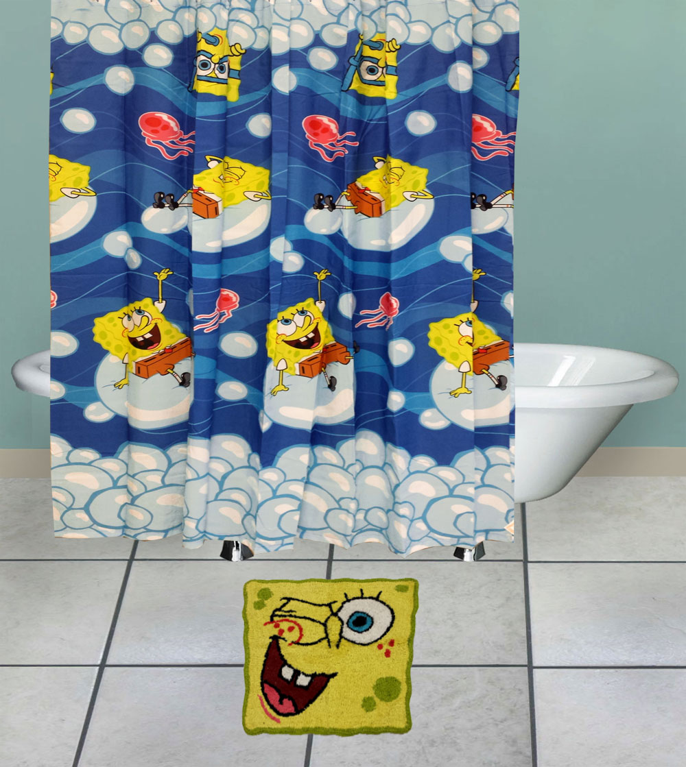Spongebob Squarepants Bathroom Set Bubblin Around Shower