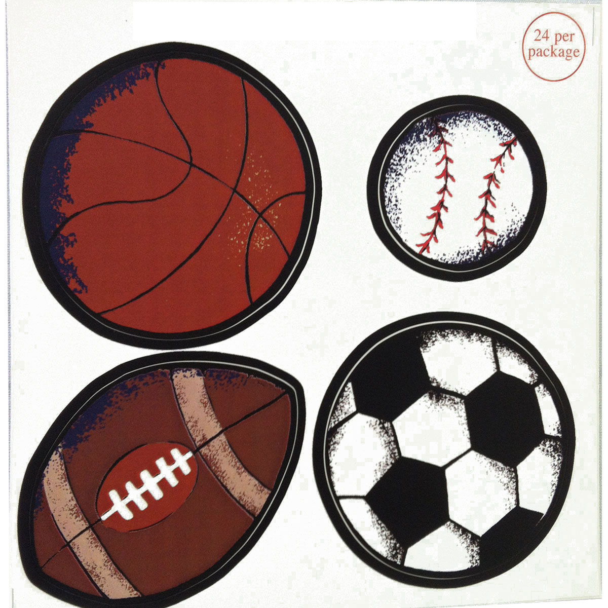 Brylane Sports Balls Wall Stickers 24pc Football Baseball Decals at Sears.com