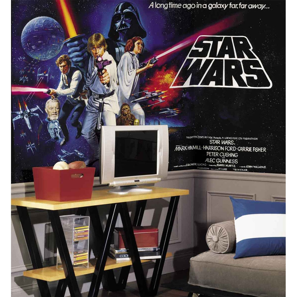 Star wars classic wall mural wallpaper accent decor for Mural star wars
