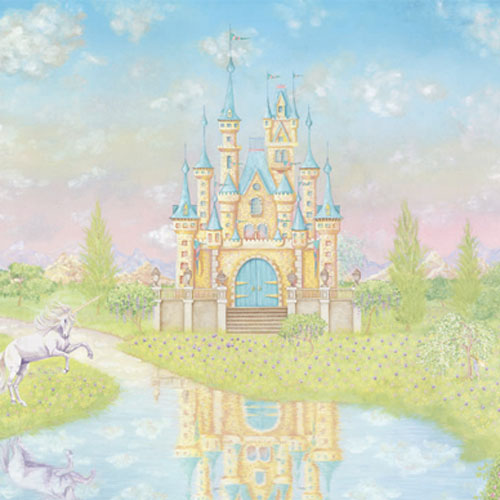 Storybook castle large prepasted wall mural fairy princess for Fairy princess mural