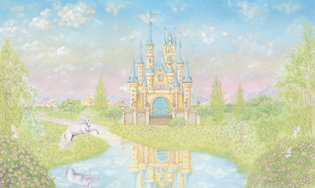 Storybook princess castle large wallpaper accent mural for Castle mural wallpaper