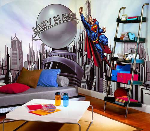 Superman Cityscape Mural - Large Flying Super-Man Mural