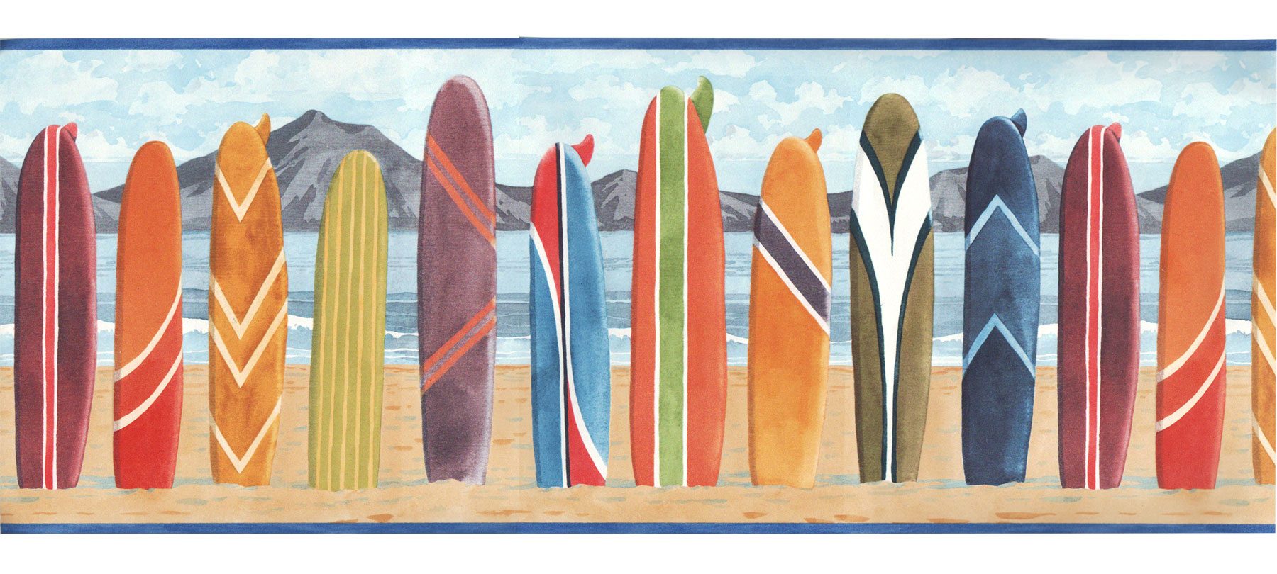 Surfboard Beach Prepasted Wall Border