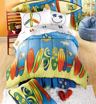 Double  Size on Surf S Up   8pc Reversible Bed In A Bag   Full Double Size