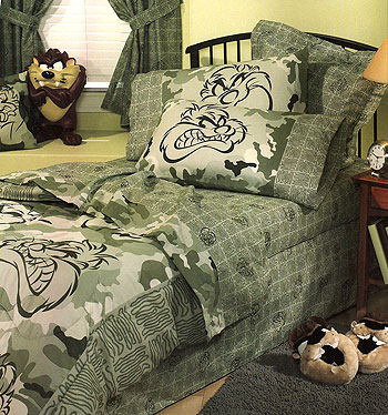 Bedspreads camo on looney tunes taz camouflage bedskirt dust ruffles