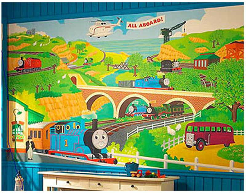 thomas wall mural prepasted thomas tank train engine. Black Bedroom Furniture Sets. Home Design Ideas