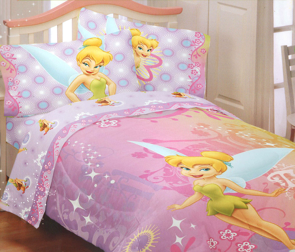 4pc disney fairies tinkerbell whimsy full bed sheet set for Tinkerbell bedroom furniture