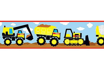 Construction Trucks 12ft Wall Border Roll