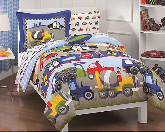 Toddler Bed Construction Truck Bedding