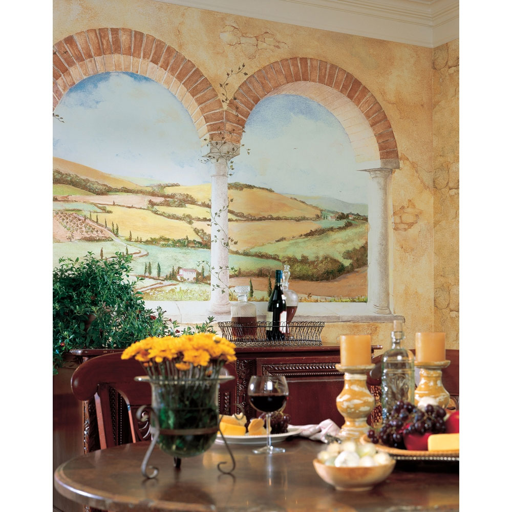 Tuscan view wall mural italian country side wallpaper for Decorative mural