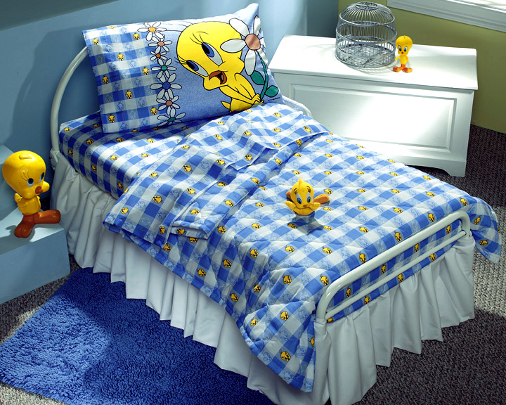 TUNES Tweety Bird Blues SHEET SET Toddler Size Kids Bedding