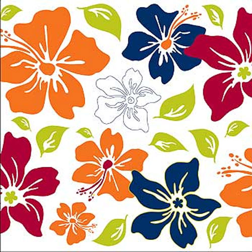 Tropical Flower Square - 5 Peel & Stick Wall Stickers