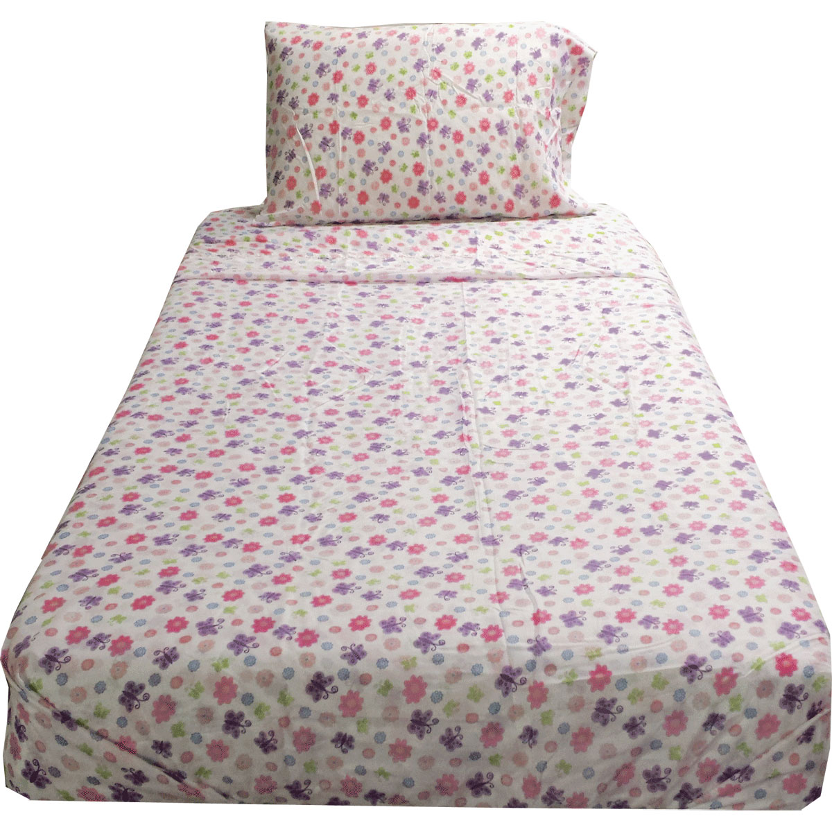 Flowers Butterflies Twin Sheet Set