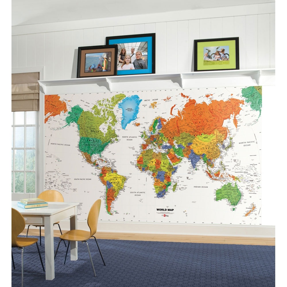 Colorful World Map Wall Mural