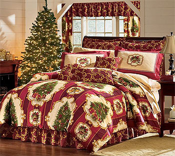 Christmas Tree Holiday Bedding Set - 4pc Comforter Bed Set - King Size