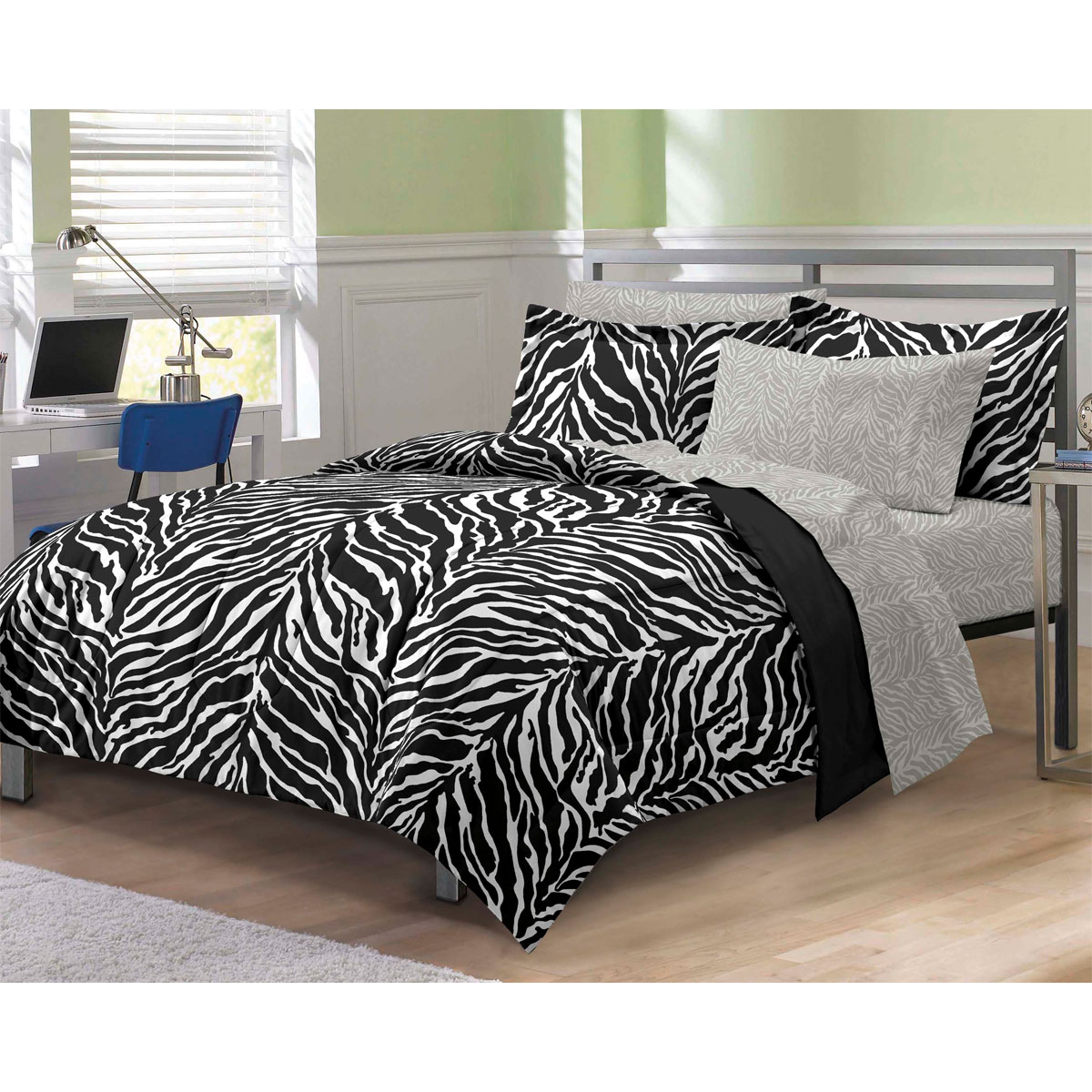 Zebra print bedding set animal stripes comforter and sheets Zebra print bedding
