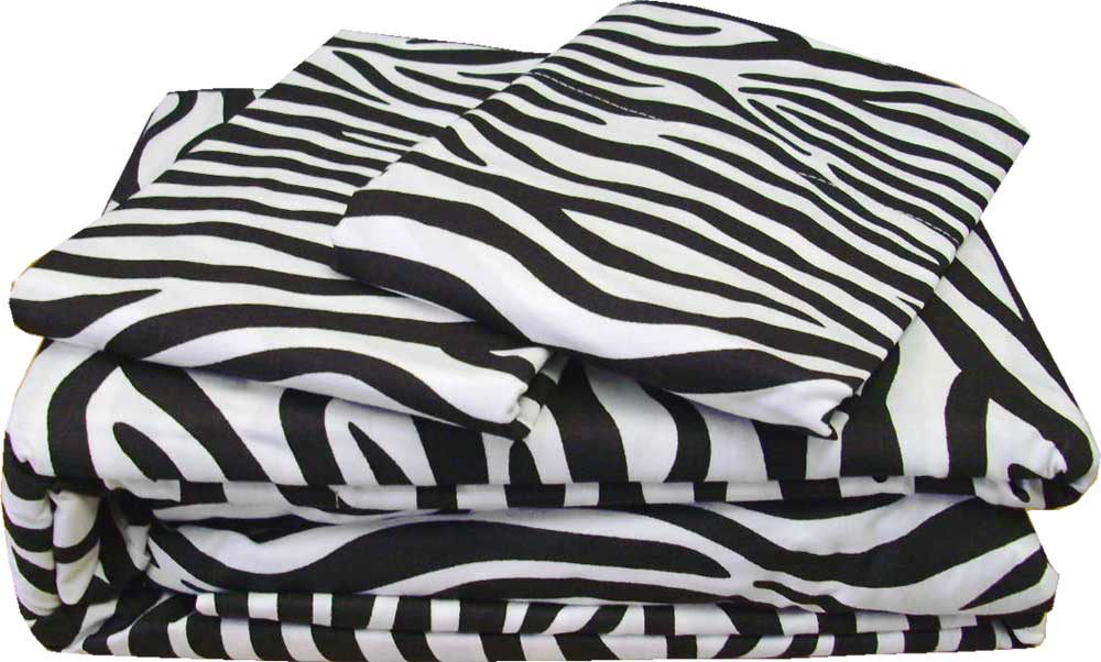 4pc Zebra Stripe Full Sheet Set Safari Animal Print: zebra print bedding